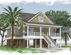 Great floor plan for our next home on the coast? But with a full wrap around deck and outdoor kitchen... deeper front deck, porch swing, fireplace & small  balcony - top level in the office.