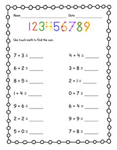 math worksheet : touch math worksheets 0 9 made by a special education teacher  : Math Worksheets For Special Education Students
