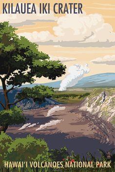 Kilauea Iki Crater, Hawaii Volcanoes National Park Travel Art Print - 46 x 61 cm Hawaii Volcanoes National Park, Volcano National Park, National Park Posters, Us National Parks, Voyage Usa, Hawaiian Art, Vintage Hawaiian, Park Art, Wisconsin