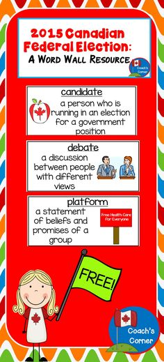 FREEBIE: Word wall cards to support lessons surrounding the upcoming 2015 Canadian Federal Election! Teaching Schools, Teaching Jobs, Teaching Ideas, Teacher Lesson Plans, Teacher Resources, School Tool, Too Cool For School, Social Science, Social Studies