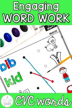 This no prep watercolor phonics resource is perfect way to get students practicing phonics and work on their developing fine motor skills. For each short vowel, there are multiple activities and different printables for a total of over 50 pages of fun. Perfect for centers, word work, early finishers, Fun Friday, or a whole class activity. Your kinders, 1st, and 2nd graders will love this no prep engaging CVC word work activity.