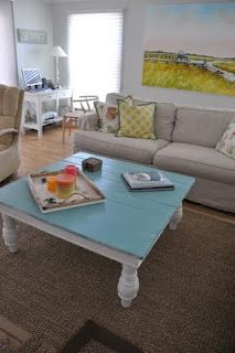 KITCHEN TABLE: coffee table - was trying to figure out how to repurpose my old kitchen table, this is perfect!