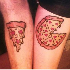 Just looking for the slice to my pizza! #TatsUnited #tattoos #tattoo #pizza #CouplesTats #MatchingTattoos #fun #art #inklife #ink #tats #cheesepizza #couples #relationship #love