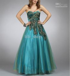 Wholesale Prom Dress - Buy Peacock Prom Dress Ball Gown Green Organza Custom Made Size :, $149.28 | DHgate