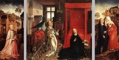 WEYDEN, Rogier van der (b. 1400, Tournai, d. 1464, Bruxelles) Click! Annunciation Triptych c. 1440 Oil on oak panel, 86 x 92 cm (central panel), 87 x 36,5 cm (each wing) Musée du Louvre, Paris (central), Galleria Sabauda, Turin (wings) The central scene of the Annunciation takes place in a luxurious interior, depicted with convincing spatial feeling. The white lilies and glass carafe symbolize the purity of Mary. The fireplace is already out of use on March 25, Annunciation Day, and has a…