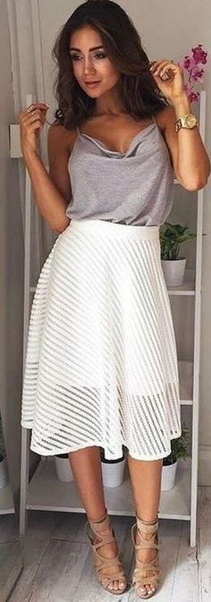 #fall #work #outfits | Grey 'Get It Started' Top + White 'Underline' Dress