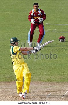 Cardiff, Wales, UK. 1st June 2013. Australia's Shane Watson gets hit on the head during the ICC Champions Trophy pre tournament warm up international cricket match between Australia and West Indies at Cardiff Wales Stadium on June 01, 2013 in Cardiff, Wales. (Photo by Mitchell Gunn/ESPA/Alamy Live News) - Stock Image