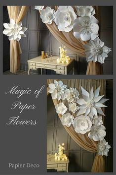 This set of large paper flowers is wonderful find for wedding, baby shower, for nursery decor, for bedroom, girls room or any feminine space. The flowers are designed for hanging on drapes. Paper Flower Backdrop Wedding, Paper Flower Decor, Floral Backdrop, Diy Backdrop, Wedding Flower Decorations, Paper Decorations, Backdrops, Paper Flowers For Wedding, White Paper Flowers