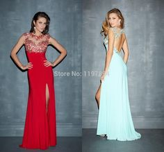 Find More Evening Dresses Information about Gorgeous Crystal High Side Slit Long Evening Dress A Line Scoop Open Back Sexy Formal Evening Gown High Fashion 2015,High Quality dress image,China gown wrap Suppliers, Cheap gown cocktail dress from Amanda's Dress House on Aliexpress.com