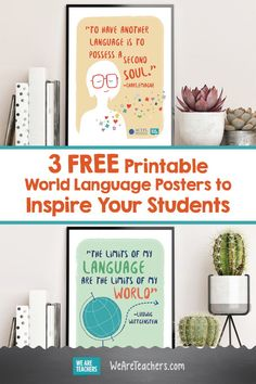 3 FREE printable world language posters to inspire your students! Brighten your classroom walls to help inspire your students. French Classroom Decor, New Classroom, Classroom Displays, Classroom Walls, Classroom Ideas, Spanish Classroom Posters, World Language Classroom, High School French, We Are Teachers