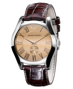 Emporio Armani Watch, Men's Brown Croc Embossed Leather Strap AR0645