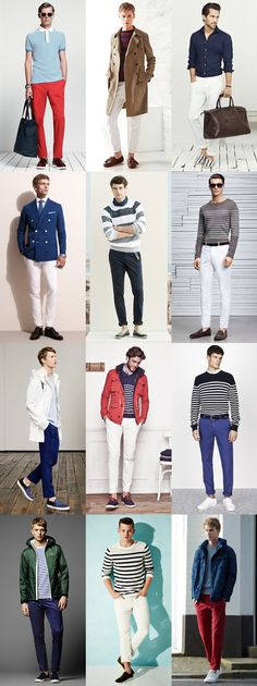 Men's Summer Nautical Style: White, Navy and Red Chinos Outfit Inspiration Lookbook
