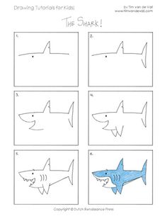how to draw a shark - Drawing Tips Drawing Tips Drawing Lessons, Drawing Techniques, Drawing Tips, Learn Drawing, Art Lessons, Drawing Ideas, Easy Drawing Tutorial, Drawing Tutorials For Kids, Toddler Drawing
