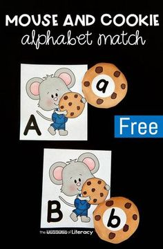 In my class we love reading fun stories, and we love fun alphabet games, so this mouse and cookie alphabet match is the perfect combo! It pairs perfectly with one of our favorite read alouds, If You Give a Mouse a Cookie, and we get to work on matching up Preschool Literacy, Free Preschool, Kindergarten Reading, Alphabet Games For Kindergarten, Teaching Resources, Learning Letters, Kids Learning, Learning Spanish, Alphabet