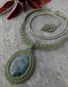 Jade Macrame necklace Light Green stone size by LaQuetzal                                                                                                                                                     More