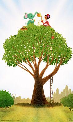 high tea #tree #tea #elephant #illustration #nidhichanani