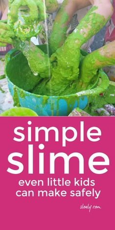 This super easy safe slime recipe without borax or glue is simple enough for even little kids and toddlers to make it themselves safely whilst exploring all the wonders of non-Newtonian fluids. #slime #slimerecipe #simpleslime #easyslime #slimewithoutborax #slimewithoutglue #toddleractivities