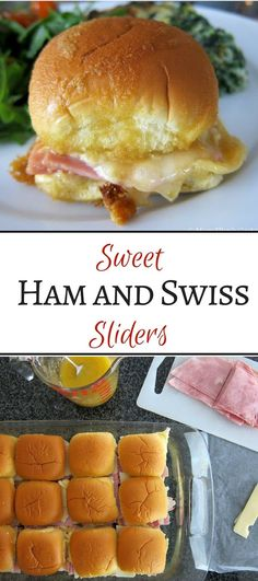 had these at theresas shower! perfect sandwich for entertaining - parties, brunch, game day, appetizers. ham and swiss on slider rolls with a sweet and sticky sauce, baked to perfection. Ham And Swiss Sliders, Ham Sliders, Slider Sandwiches, Appetizer Sandwiches, Sandwiches For Dinner, Brunch Appetizers, Appetizer Recipes, Sandwich Recipes, Sandwich Bar