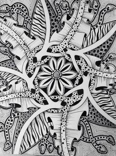 Amazing Zentangle - love the interwoven branches in the middle