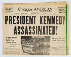 "Lot 796: Chicago's American ""Kennedy Assassination"" Newspaper; November 22, 1963 Chicago's American newspaper highlighting the assassination of President John F. Kennedy"