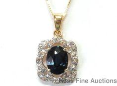 Vintage 14k Gold Fine 1.50ct Natural Blue Sapphire Diamond Pendant w Chain 18in #PendantwChain