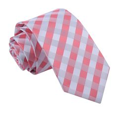 Men's Gingham Check Coral Slim Tie http://www.dqt.co.uk/mens-gingham-check-coral-slim-tie.html