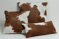 Z 3 brown & white pillow covers design cowhide rug cow hide cushions skin AL 913 Cowhide Decor, Cowhide Furniture, White Pillow Covers, White Pillows, Hunting Cabin Decor, Leather Pillow, Tooled Leather, Pillow Cover Design, Rustic Bedding