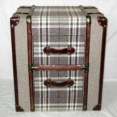 canvas brown check 2 drawer trunk chest or bedside table allissias attic vintage french bar trunk furniture