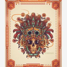 Behance is the world's largest creative network for showcasing and discovering creative work Mayan Tattoos, Inca Tattoo, Skull Girl Tattoo, Aztec Culture, Aztec Warrior, Skull Artwork, Aztec Art, Marken Logo, Mexican Art