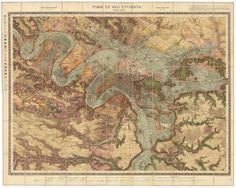 """48.8742° N, 2.3470° E, Service Géologique des Mines, Paris et Ses Environs, 1890. (Photo: The David Rumsey Map Collection) In the book, """"Cartographic Grounds: Projecting the Landscape Imaginary"""""""