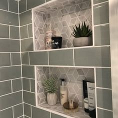 Recessed bathroom shelves Tiled built-in shower shelves Related posts: DIY BATHROOM DECOR ON A BUDGET Racks for hanging wood and ropes – Bathroom shelves – Storage for … Frame shelves painted same as wall. Reclaimed ladder and scaffolding board shelves Diy Bathroom, Laundry In Bathroom, Bathroom Renos, Bathroom Renovations, Small Bathroom, Master Bathroom, Kitchen Remodeling, Remodeling Ideas, Bathroom Showers