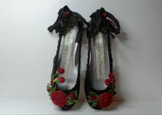 Bride's Princess Black Ballet Slippers by lambsandivydesigns, $165.00