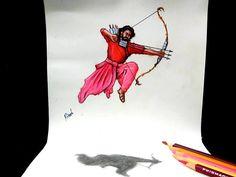 Bahubali 2 - Drawing Prabhas - 3D drawing of Prabhas   Realistic drawing Prabhas   Drawing Devasena - Anushka Shetty   Incredible scene of Bahubali 2 Pencil Art Drawings, Realistic Drawings, Colorful Drawings, Prabhas And Anushka, Prabhas Pics, Actor Photo, Message Card, Bahubali 2, Scene