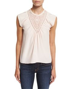 Sleeveless+Silk+Southwestern+Top,+Pale+Blush+by+Rebecca+Taylor+at+Neiman+Marcus.