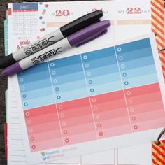 8 Ombre Checklists Boxes July Theme Sticker Planner // Perfect for Erin Condren Life Planner by FasyShop on Etsy