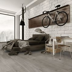 Palo Duro Hardwoods' Colorado Mountain collection celebrates the Rocky Mountain lifestyle with its wide-plank, long-length engineered hardwood flooring. The thick flooring is made with an innovative rubber wood core to provide the ultimate stability. Car Part Furniture, Automotive Furniture, Automotive Decor, Simple Interior, Interior Design, Bike Storage Room, Palette Deco, Bike Room, Appartement Design
