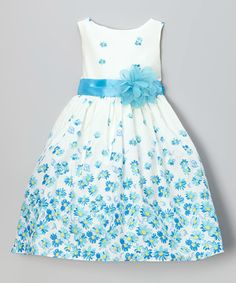Love this Blue Floral Sash Dress - Toddler & Girls by Kid's Dream on #zulily! #zulilyfinds