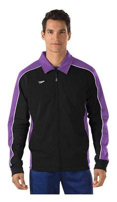 2084839ee  36.75 - Speedo Streamline Warm-Up Jacket Adult Male Black Purple X-Large