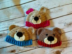 Teddy Bear beanie. Bear hat. Newborn to adult sizes. Handmade to order. by TracyplusCrochet on Etsy