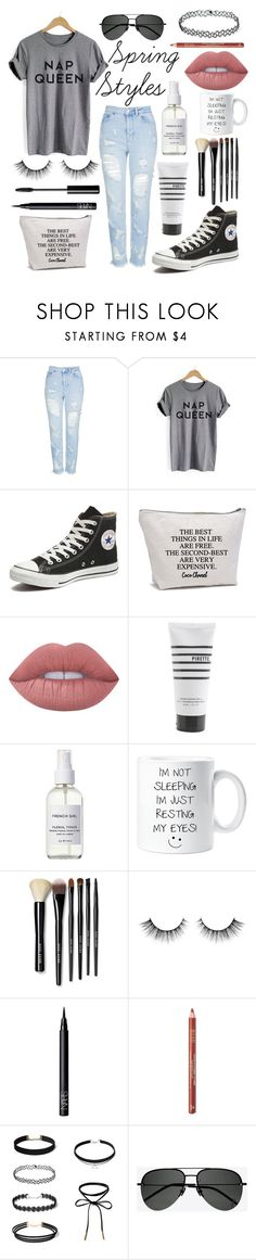 """Lazy day #2"" by iamatortoise ❤ liked on Polyvore featuring Topshop, Converse, Chanel, Lime Crime, Pirette, French Girl, Bobbi Brown Cosmetics, NARS Cosmetics, Milani and Yves Saint Laurent"