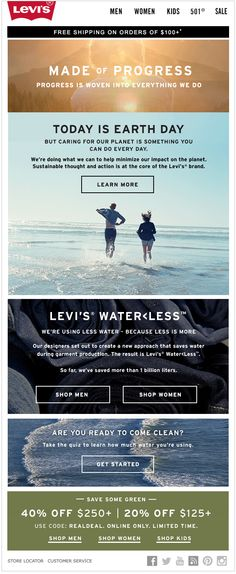 Levi's Earth Day email. SL, Celebrate Earth Day every day.
