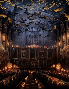 "Harry Potter: ""A thousand live bats fluttered from the walls and ceiling while a thousand more swooped over the tables in low black clouds, making the candles in the pumpkins stutter."" #Halloween #Hogwarts #Great Hall #Pottermore"