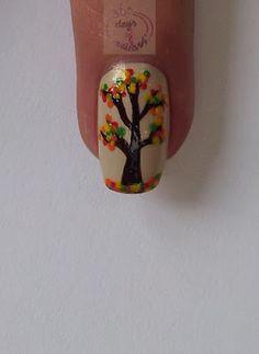 365 days of nail art - Fall tree