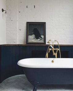 Dark colours can work well in the bathroom. Design and bathroom inspiration. Home, Bathroom Styling, Bathroom Inspiration, Victorian Bathroom, Bathroom Cladding, Beautiful Bathrooms, House, Navy Bathroom, Bathroom Design