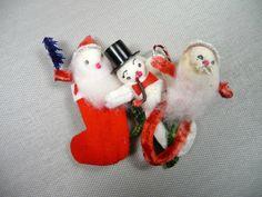 Vintage Christmas Spun Cotton Tie Ons Chenille Santa Snowman Stocking Set of 3