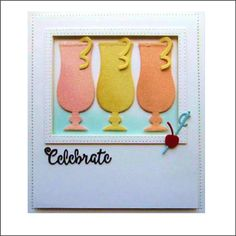 Cocktail Glasses by Creative Expressions is a thin metal cutting die set that creates two different bar glasses with all the bar fixings for perfect drinks for cards or scrapbook pages. margarita glass for pcs Product Uses: die cutting, card making, Sue Wilson, Beautiful Handmade Cards, Cocktails, Drinks, Card Making Inspiration, Craft Items, Die Cutting, Happy Hour, Margarita