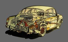Tatra T circa A proposal to build a forward control MPV type vehicle with 3 rows of seats based on the Tatra T 603 (pictured) using that car's rear-mounted engine. Cutaway, Enjoy Car, Car Illustration, Automotive Art, Love Car, Technical Drawing, Off Road, Car Pictures, Car Accessories