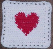 HEART AFGHAN ♥ⓛⓞⓥⓔ♥ Square Crochet Pattern. These would make great coasters!  #crochet #hearts #valentines #love