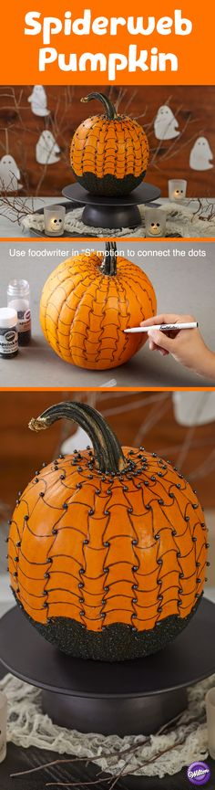 No carve pumpkin decorating ideas are taking center stage this Halloween. A drawn on optical illusion spider web design comes to life with points of visual interest, shiny black sugar pearls and a sparkling sugar bottom.