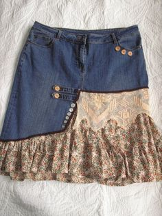 Items similar to Out walking.   Plus size denim skirt embellished vintage cotton print fabric, buttons & vintage trim. upcycled clothing on Etsy
